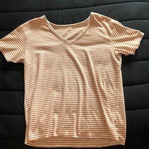 Burnt orange and white striped V-neck tee